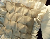 """Burlap Decor 12"""" x 12"""" Pillow Covers TWO Smocked Burlap with Muslin Ruffles Pillow Covers"""