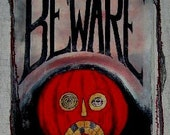 Halloween  Painted  Banner  BEWARE Orange Pumpkin Jack o Lanterns
