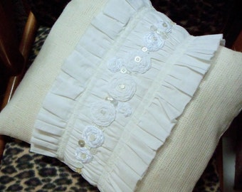 "Burlap Decor 18"" x 18"" square Pillow Cover Beautiful White Burlap and Muslin Shabby Chic with ruffles, rosettes and more"