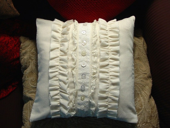 Shabby Chic Beautiful Vintage Style Lace, Ruffles Buttons Trimmed Muslin Pillow Cover