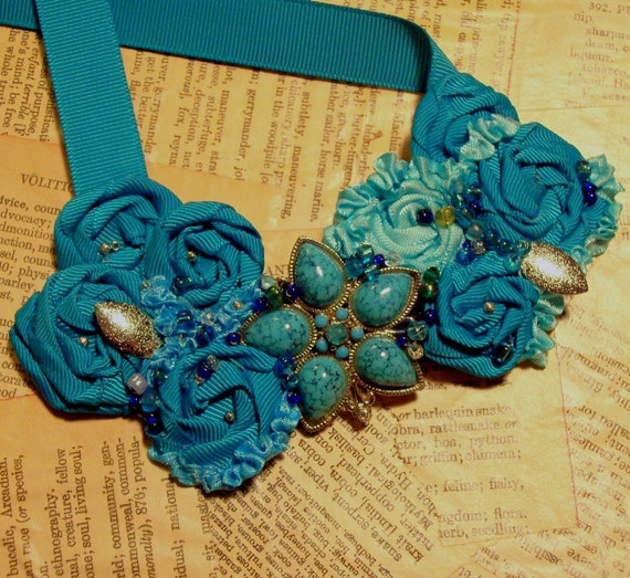 FREE shipping on SALE...Beautiful Bib Necklace...Turquoise Blossom Brooch, Teal Rosettes, Blue Satin and Beads