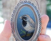 Sparrow, original one of a kind miniature oil painting