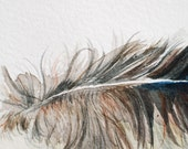 Petit Feather, Handmade, one of a kind, original watercolor painting
