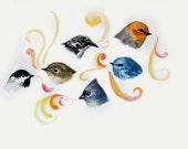 Bird Watercolor, watercolor painting, original art, one of a kind , Whimsical Bird Heads, Original watercolor