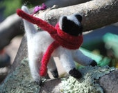 Fuzzy Black and White Needle Felted Holiday Kitty, one of a kind, SALE