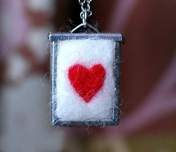 Heart Warming Fuzzy Felt Locket
