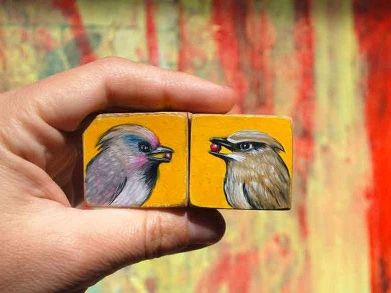 Wax Wings in Love (Pair of Original Miniature Paintings)