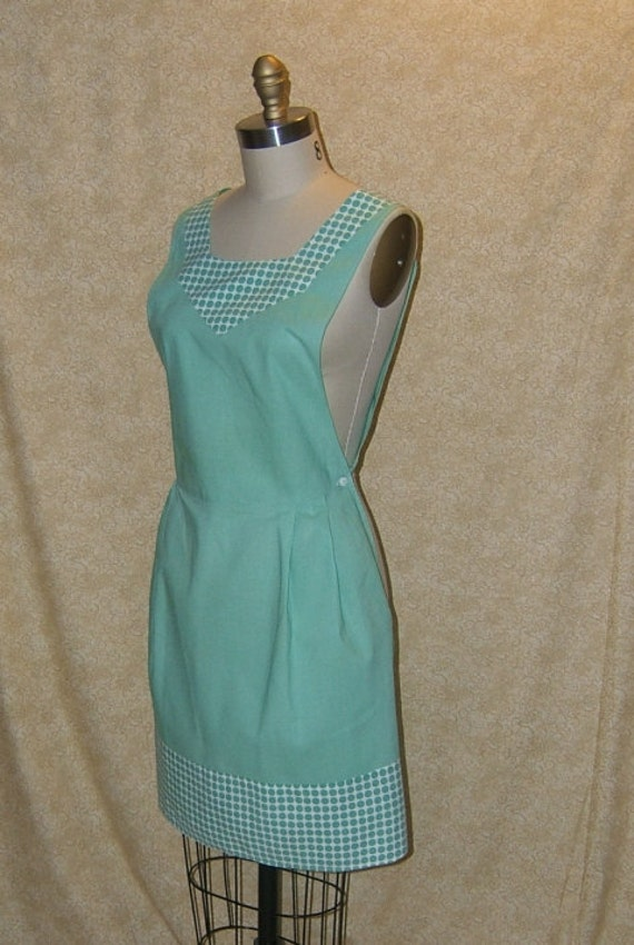 Apron Vintage Mint Green cotton antique sea glass green retro old fashioned tunic cobbler cover up