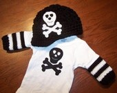 GIFT SET -- Brimmed Pirate Skull and Crossbones Beanie and Matching Onesie