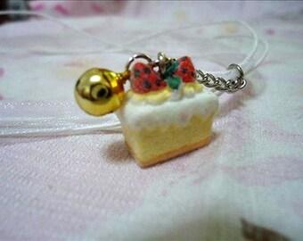Kawaii Strawberry Piece of Cake White Lace Necklace. Japan. Yummy. Bell. Jingle. Harajuku. Sweets. Dessert.Handmade