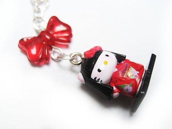 Japanese Doll Hello Kitty Necklace. Ribbon. Red. Sanrio. Japan.