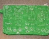 Green Robot Zipper Pouch