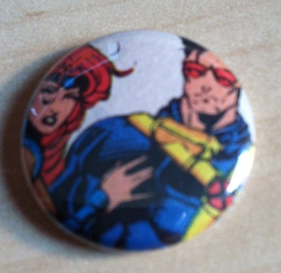 """X-Men Cyclops and Jean Grey / Upcycled 1"""" button"""