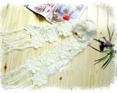 Hand-crochet double line white peony flower wool scarf