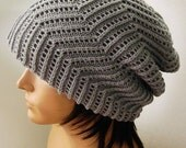 Pretty hand knitted light gray beanie wool hat for men or women