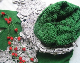 Hand-crochet double line grey peony flower scarf