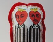 art doll twins siamese heart couple soft sculpture wall art