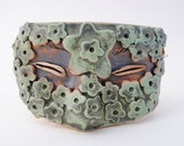 ceramic mask half mask sculpture art green flower face wall art