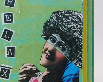 collage art block mixed media on wood miniature steampunk art lady