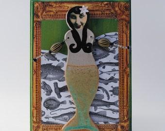 mixed media art assemblage mermaid vignette nautical art doll