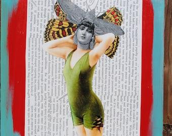 collage art original  mixed media art bathing beauty wings wall art