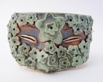 ceramic mask half mask sculpture art green flower face wall art