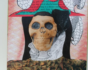 mixed media skull assemblage skeleton art collage on wood