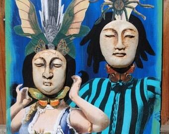 mixed media large art assemblage wall art original ceramic mask couple
