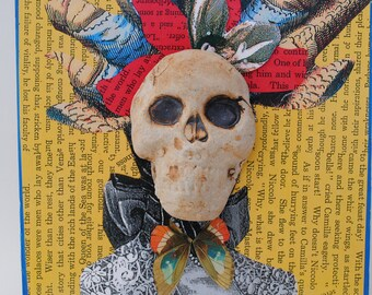 mixed media skull portrait art assemblage skeleton collage wall art day of the dead