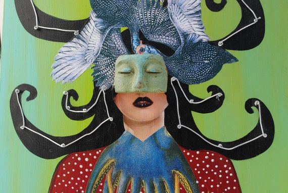 mixed media assemblage collage painting original masked lady
