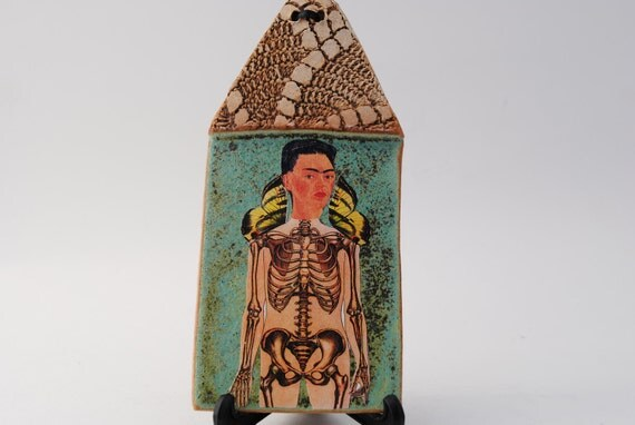 frida kahlo art clay house mixed media curio oddity skeleton