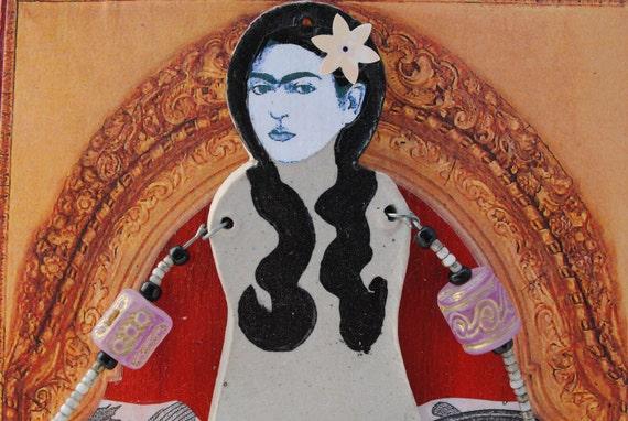 art assemblage mixed media Frida Kahlo mermaid vignette ocean fish nautical