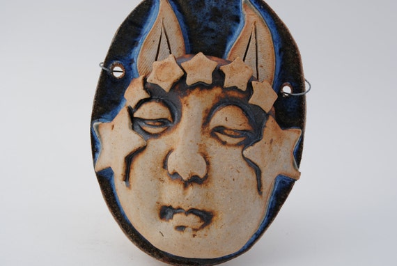 ceramic mask stoneware clay face sculpture wall art decoration