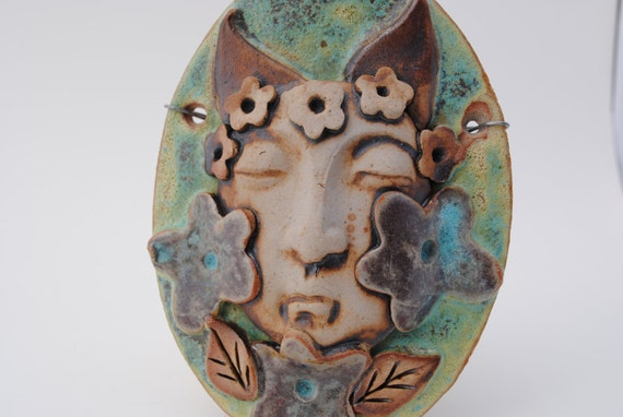 ceramic mask sculpture wall art clay face home decor