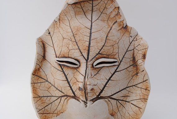 ceramic leaf face mask wall art face sculpture garden art