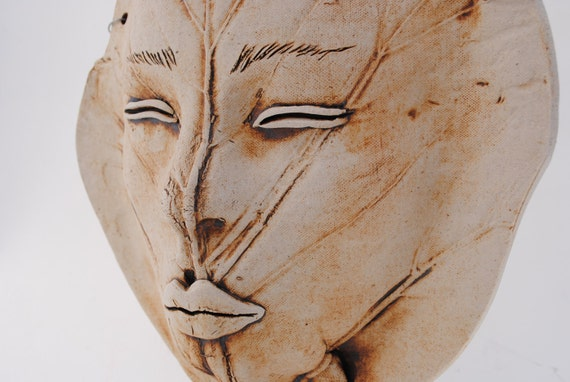 ceramic leaf mask life sized wall art clay large face garden decor sculpture