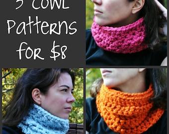 NEW PDF Crochet Pattern - 3 Cowl Pattern Pack