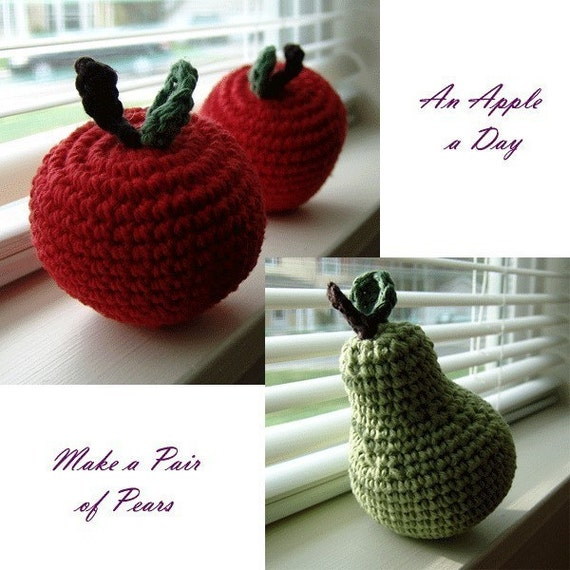 PDF PATTERNS - Twofer - Crochet Amigurumi Apple and Pear