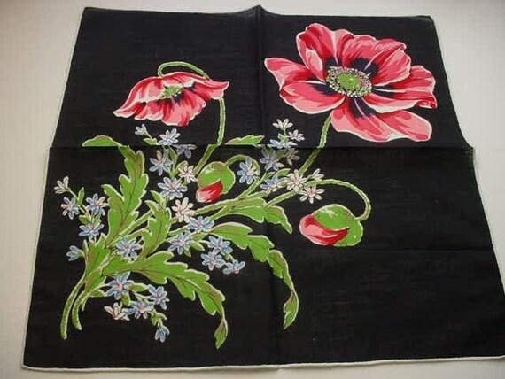 Vintage  Hankie  Black Hankie  BIG FLOWER DIAGONAL Design
