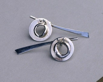 sterling silver organic earrings Handmade in france