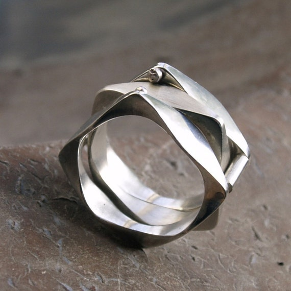 modern sterling silver ring stacking ring unique three in