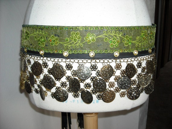 Tribal Fusion/ Bollywood/ Bellydance, leather belt, coins, metal
