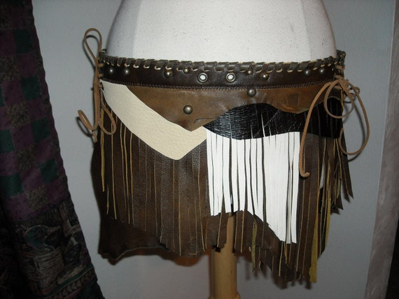 Tribal Leather skirt, two piece, corseted, fringy, shades of brown, a match to  the chocolate brown vest