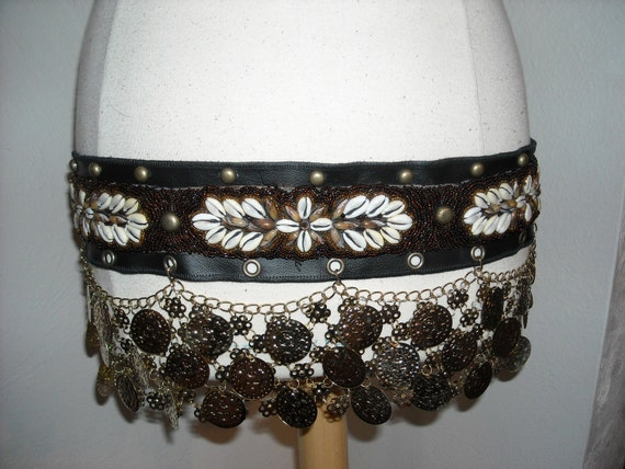 Leather Belt, Tribal , Tribal Fusion, seed beads, shells, coins
