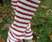 Upcycled Red & White Striped Leg Warmers