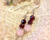Faceted Garnet and Rose Quartz Dangle Earrings (8c19)
