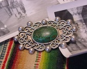 SALE Vintage Taxco Serafin Moctezuma Pin Brooch 980 Silver with Stone