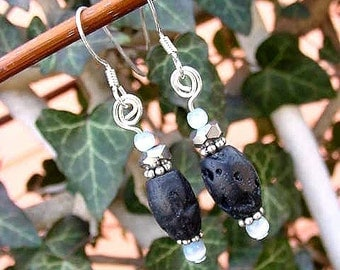 Midnight Blue Earrings Genuine Lava Stone Beads w Cats Eye and Crystal, Dangles, Sterling Ear wires  10a14