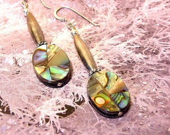 Kaleidoscope Dreams  Abalone Shell and Sterling Silver Drop Dangle Earrings   7tu263