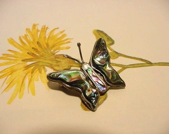 Vintage Mexico Abablone Butterfly Pin Shell inlay Signed alpaca 60s 70s 4g362